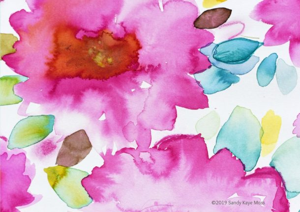 Watercolor flowers, pink, blue, red with green leaves