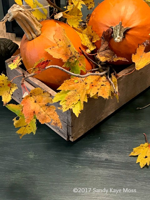 Pumpkins nestled in an old wooden box