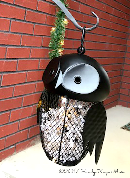 Christmas Owl with lights keeping watch over the front porch