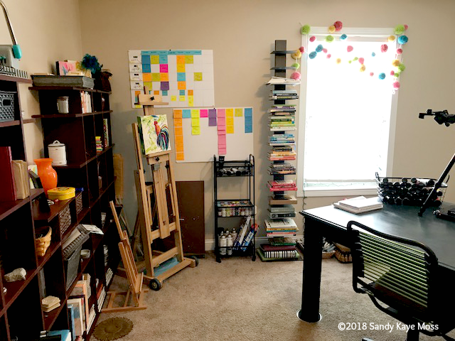 All the colorful trappings of an art studio and so far my fave place in this space