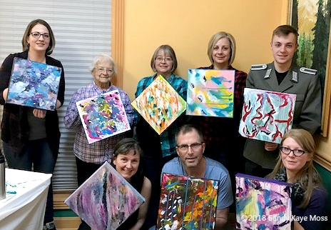 Abstract painting workshop. Seekers finding their emotions expressed on canvas through color. www.sandykayemoss.com