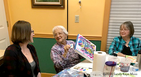 Painting edges and indulging in color and friendship during the Color of Emotion Workshop www.sandykayemoss.com