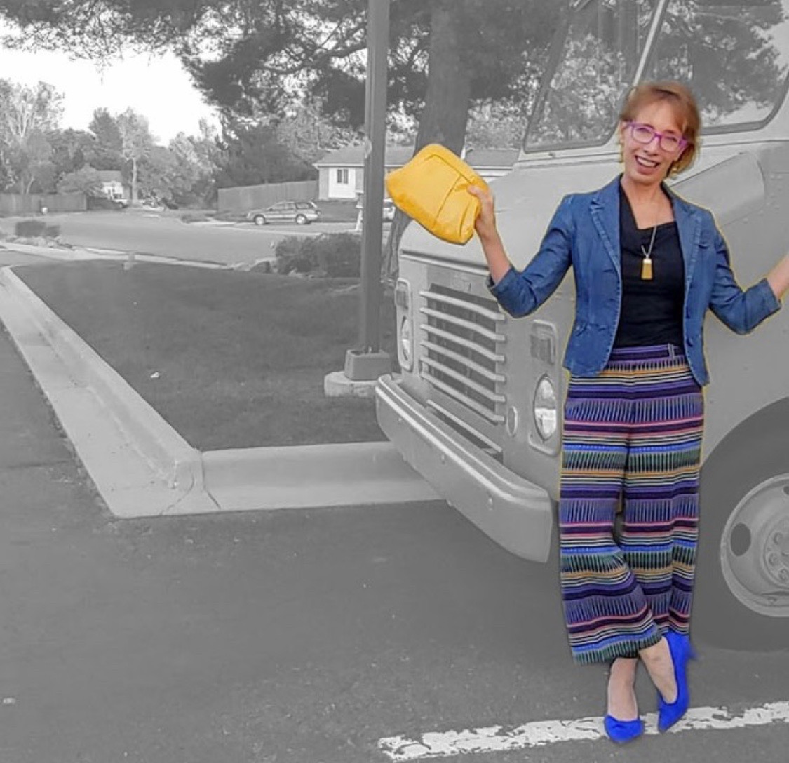 Jody in striped pants | cute yellow purse | how to wear stripes | denim jacket style | fashion photography | www.sandykayemoss.com