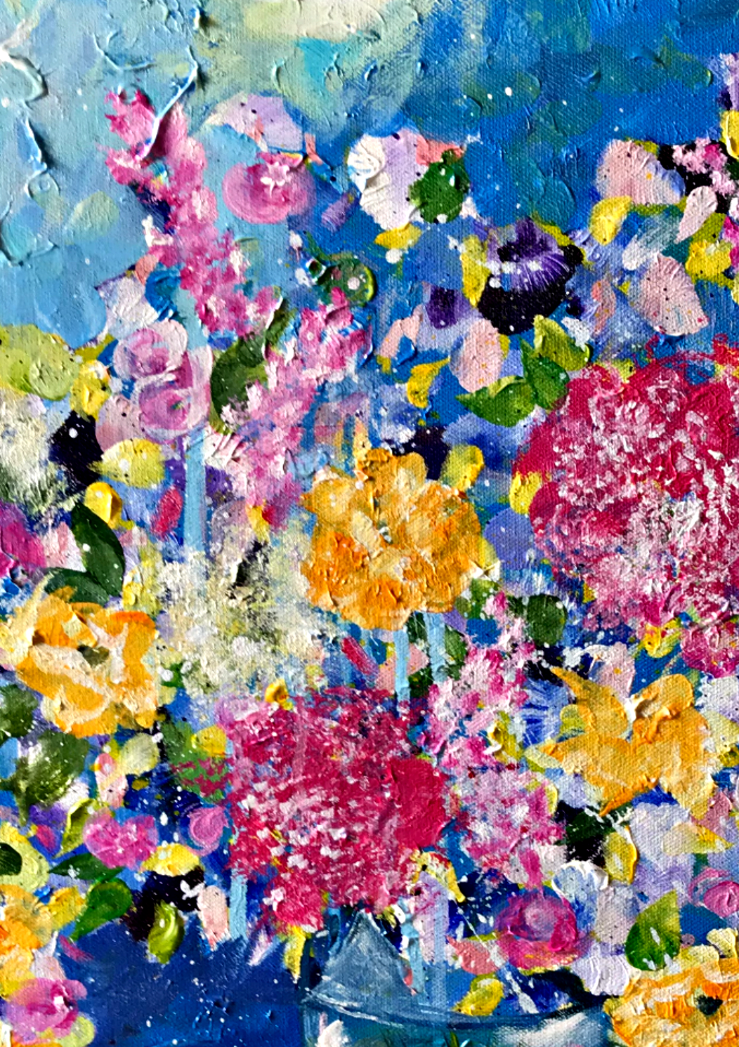 Flowers | Bright colored flowers | abstract flowers in vase | Dark Pink | Yellow Flowers | Commission art | www.sandykayemoss.com