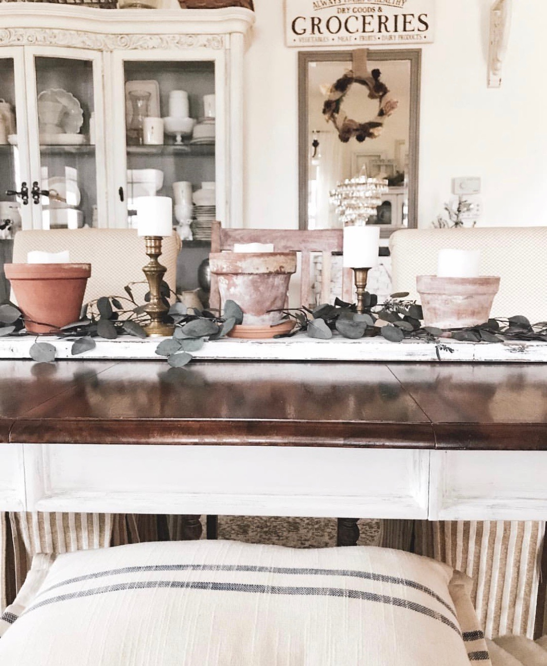 Dining room and china hutch in farmhouse style