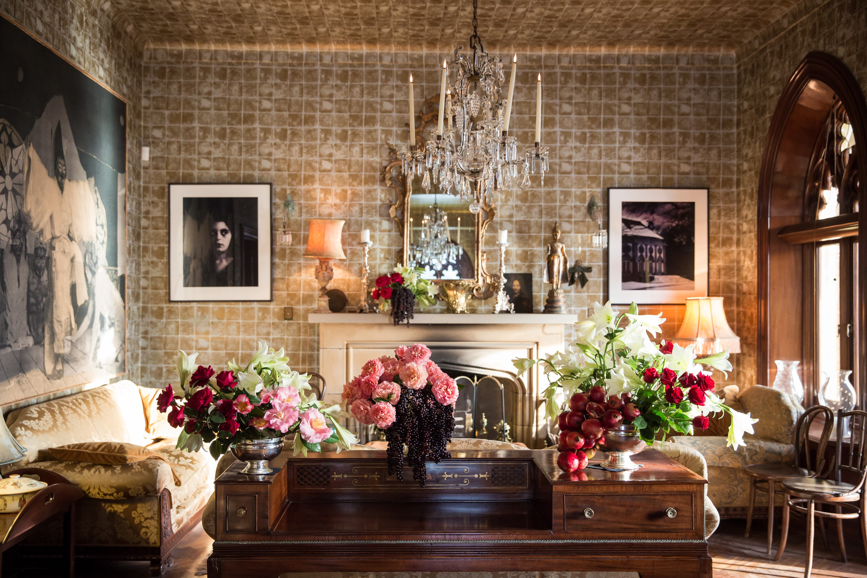 table with flowers and mantel