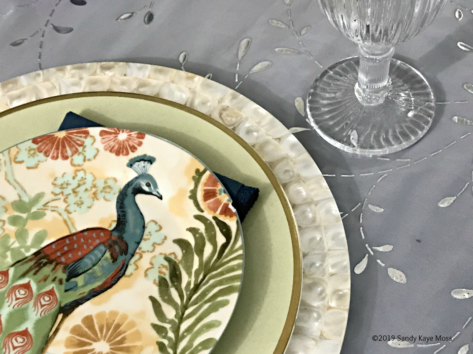 Peacock plate with dinner plate, charger and glass